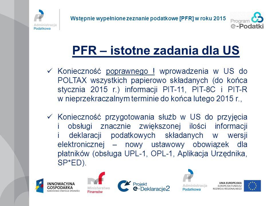 PFR – istotne zadania dla US Wstępnie wypełnione zeznanie podatkowe [PFR] w roku 2015 Konieczność poprawnego ! wprowadzenia w US do POLTAX wszystkich