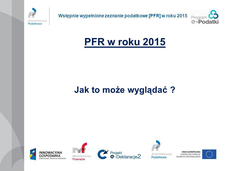 PFR w roku 2015 Jak to może wyglądać ? Wstępnie wypełnione zeznanie podatkowe [PFR] w roku 2015