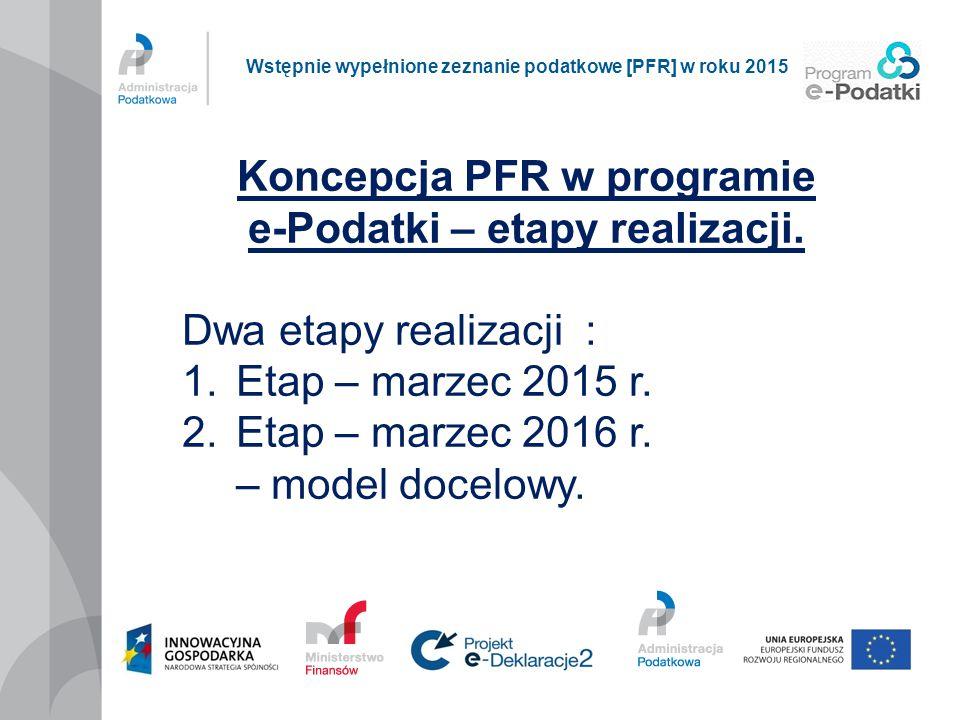 Koncepcja PFR w programie e-Podatki – etapy realizacji. Dwa etapy realizacji : 1.Etap – marzec 2015 r. 2.Etap – marzec 2016 r. – model docelowy. Wstęp