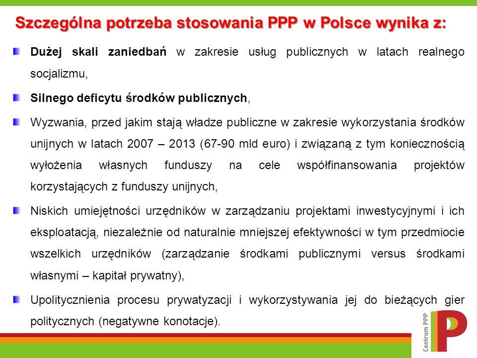 Szczególna potrzeba stosowania PPP w Polsce wynika z: Dużej skali zaniedbań w zakresie usług publicznych w latach realnego socjalizmu, Silnego deficyt