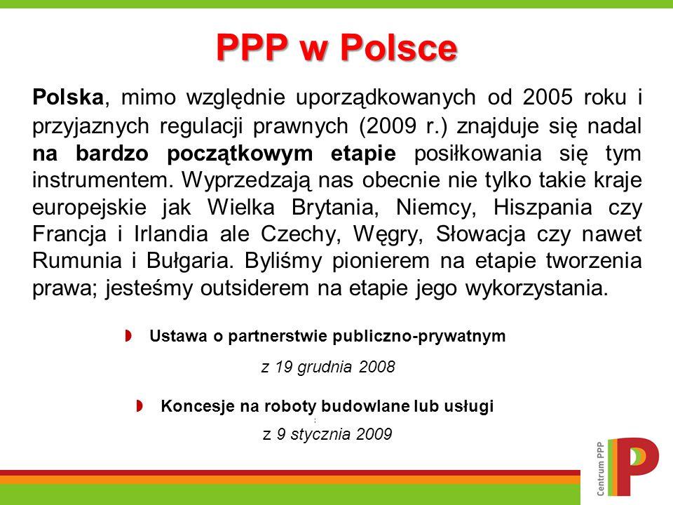 PPP w Polsce Polska, mimo względnie uporządkowanych od 2005 roku i przyjaznych regulacji prawnych (2009 r.) znajduje się nadal na bardzo początkowym e