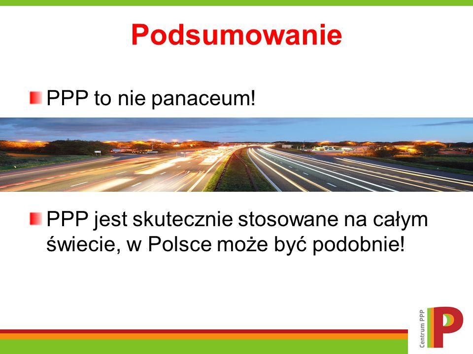 Podsumowanie PPP to nie panaceum! PPP jest skutecznie stosowane na całym świecie, w Polsce może być podobnie!