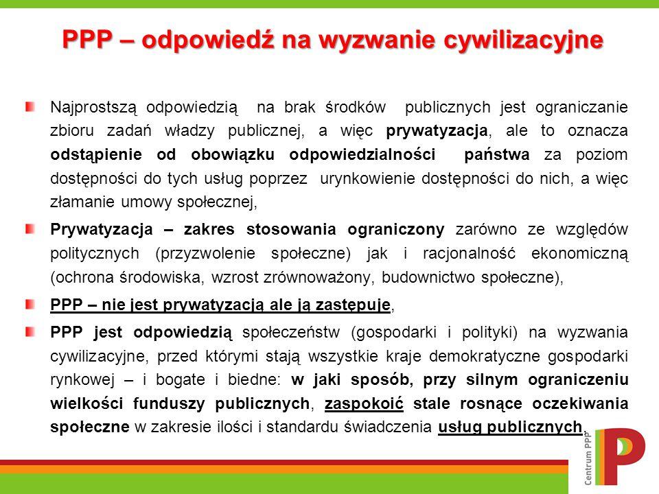 Korzyści stosowania formuły PPP: Strona publiczna uzyskuje dostęp do prywatnego kapitału – co w warunkach ogromnych potrzeb infrastrukturalnych oraz ograniczonych zasobów własnych*, umożliwia przyspieszenie nakładów na rozwój infrastruktury, Możliwość podziału ryzyk w projekcie PPP i tym samym realizacja przedsięwzięcia bez obciążania długu i deficytu publicznego**, PPP jest tańsze niż tradycyjna forma realizacji inwestycji – PPP pozwala osiągnąć oszczędności rzędu 15-17%*** w porównaniu z tradycyjnym modelem realizacji inwestycji, Projekty PPP są realizowane szybciej i sprawniej niż w metodzie tradycyjnej, w której jedynie 30% inwestycji zostaje ukończonych zgodnie z ustanowionym harmonogramem, a 27% zgodnie z zaplanowanym budżetem****, Jakość usług dostarczanych przez partnera prywatnego jest wyższa, co wynika ze zwiększonego dostępu podmiotów prywatnych do innowacyjnej wiedzy, efektów skali i doświadczeń zdobytych we wcześniejszej działalności operacyjnej o podobnym profilu, Możliwość podziału ryzyk między partnera publicznego i prywatnego – każdy z partnerów odpowiada za ryzyka, z którymi sobie lepiej (taniej, wydajniej, szybciej) radzi.