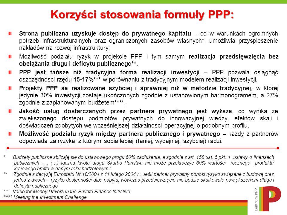 PPP: korzyści dla sektora publicznego i sektora prywatnego Korzyści dla sektora publicznego:  szybsze wdrażanie projektów,  zdynamizowanie procesu rozwoju infrastruktury,  wyższa jakość świadczonych usług,  wzrost innowacyjności w dostarczaniu usług,  większa efektywność operacyjna,  uwzględnienie całego okresu życia aktywów,  redukcja całkowitych kosztów projektu i efektywniejsze wykorzystanie pieniędzy publicznych,  lepsze zrozumienie całkowitych kosztów: fazy inwestycji i eksploatacji.