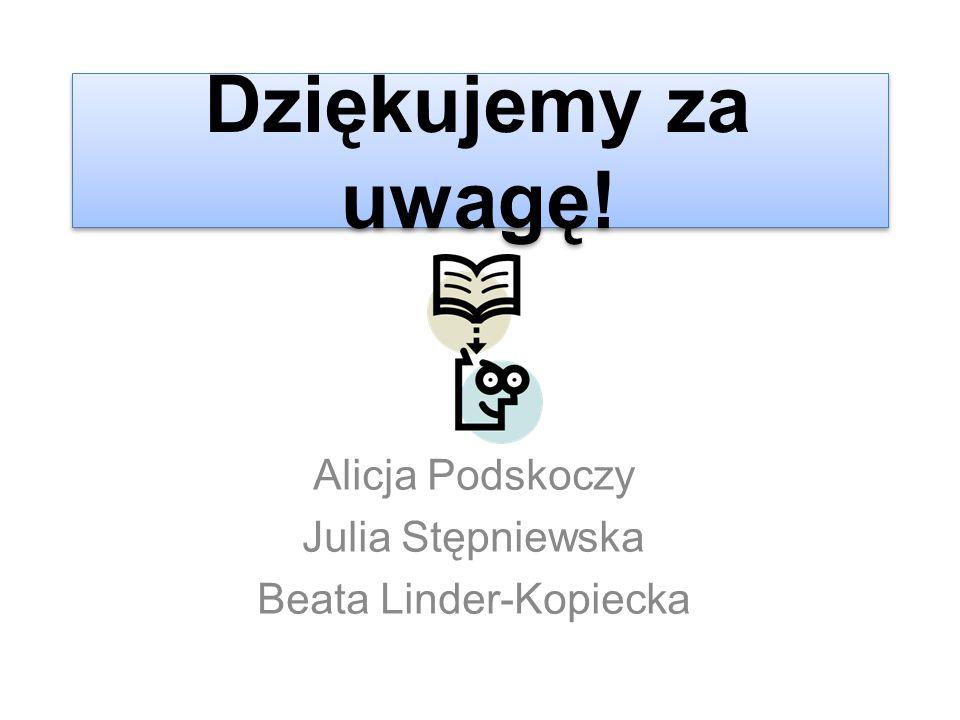 Dziękujemy za uwagę! Alicja Podskoczy Julia Stępniewska Beata Linder-Kopiecka