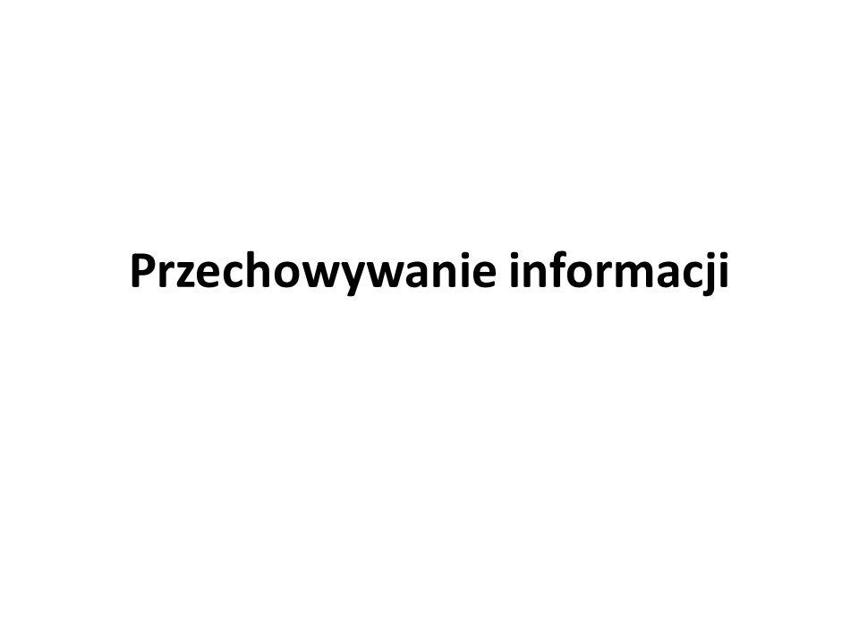 Ogólna charakterystyka fazy przechowywania informacji w procesie informacyjnym Przechowywanie informacji jest w swojej istocie przekazywaniem informacji w czasie przez umieszczanie jej na nośnikach materialnych o trwałości odpowiedniej dla danego procesu.