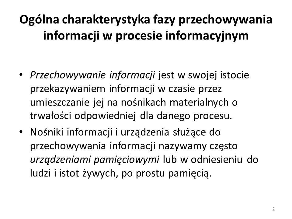 Ogólna charakterystyka fazy przechowywania informacji w procesie informacyjnym Przechowywanie informacji jest w swojej istocie przekazywaniem informac
