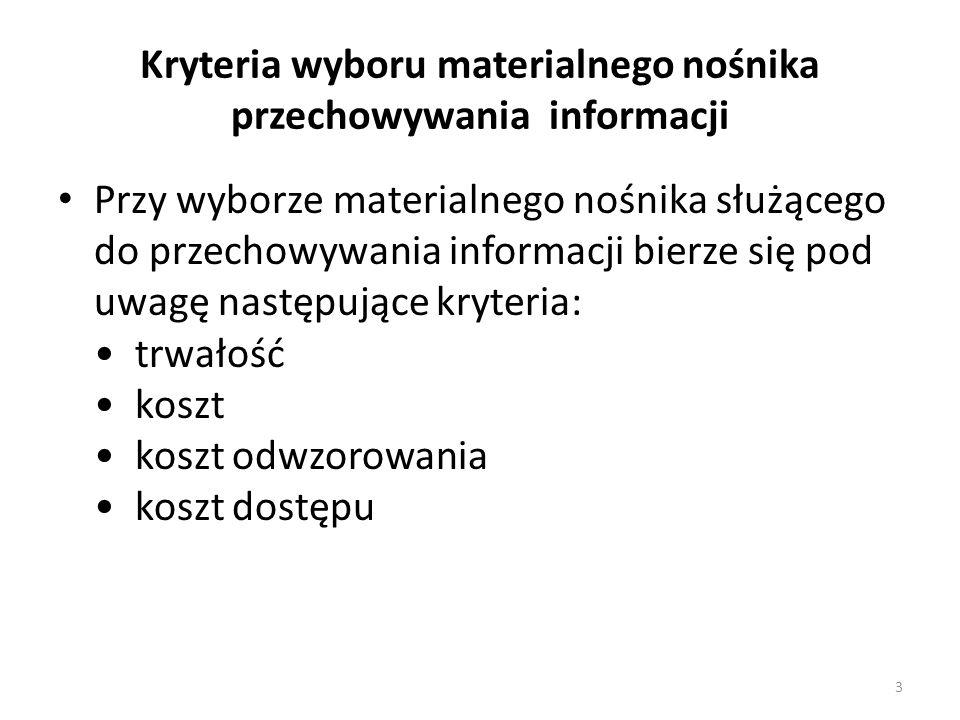 Kryteria wyboru materialnego nośnika przechowywania informacji Przy wyborze materialnego nośnika służącego do przechowywania informacji bierze się pod