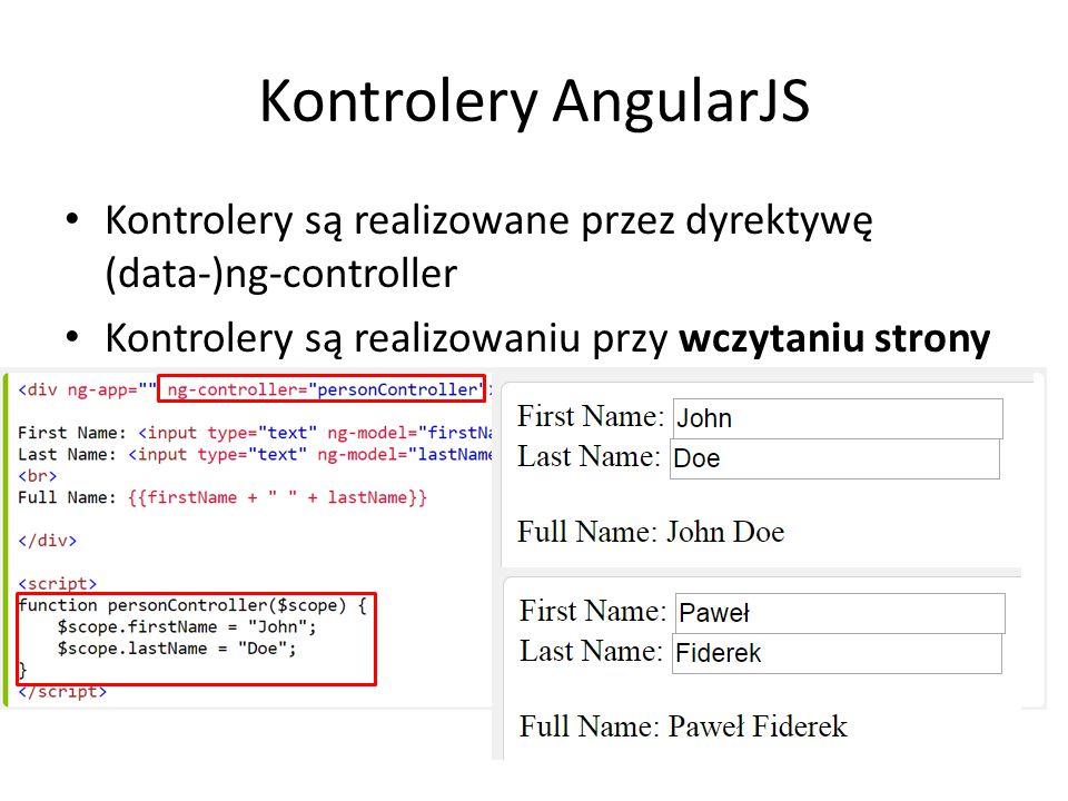 Kontrolery AngularJS Kontrolery są realizowane przez dyrektywę (data-)ng-controller Kontrolery są realizowaniu przy wczytaniu strony
