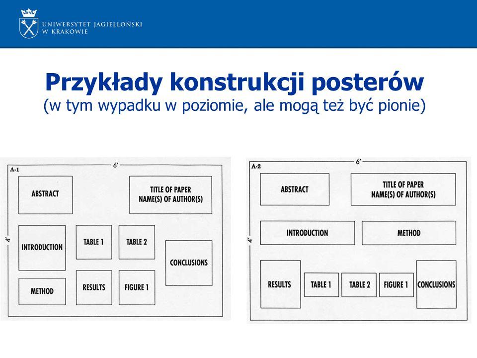 Przykłady konstrukcji posterów (w tym wypadku w poziomie, ale mogą też być pionie)