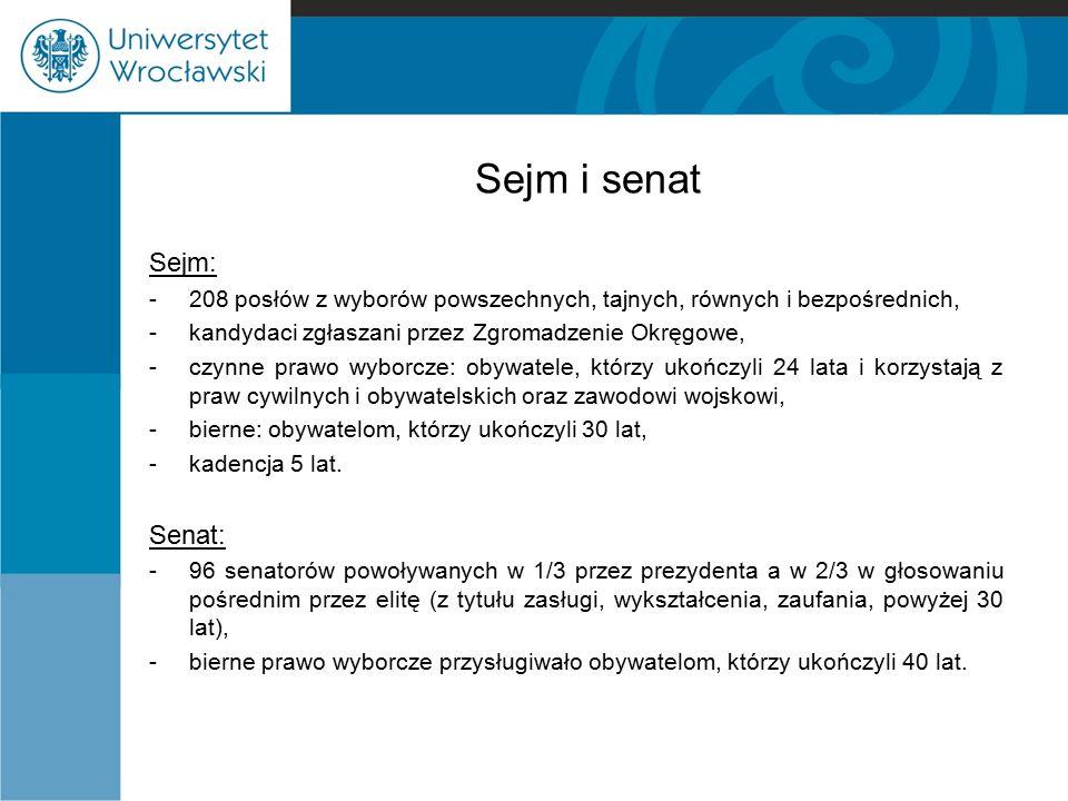 Sejm i senat Sejm: -208 posłów z wyborów powszechnych, tajnych, równych i bezpośrednich, -kandydaci zgłaszani przez Zgromadzenie Okręgowe, -czynne pra