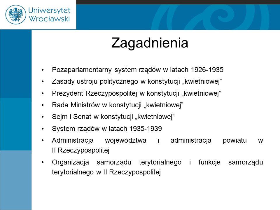 Prezydent Rzeczypospolitej System wyboru prezydenta: - zgromadzenie elektorów: 80 osób (50 wybranych przez sejm, 25 przez senat, 5 wirylistów), -prawo zgłoszenia innego kandydata przez ustępującego prezydenta (wtedy wybory powszechne), -kadencja trwała 7 lat, -zastępstwo przysługiwało marszałkowi senatu.
