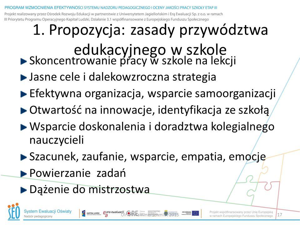 1. Propozycja: zasady przywództwa edukacyjnego w szkole Skoncentrowanie pracy w szkole na lekcji Jasne cele i dalekowzroczna strategia Efektywna organ