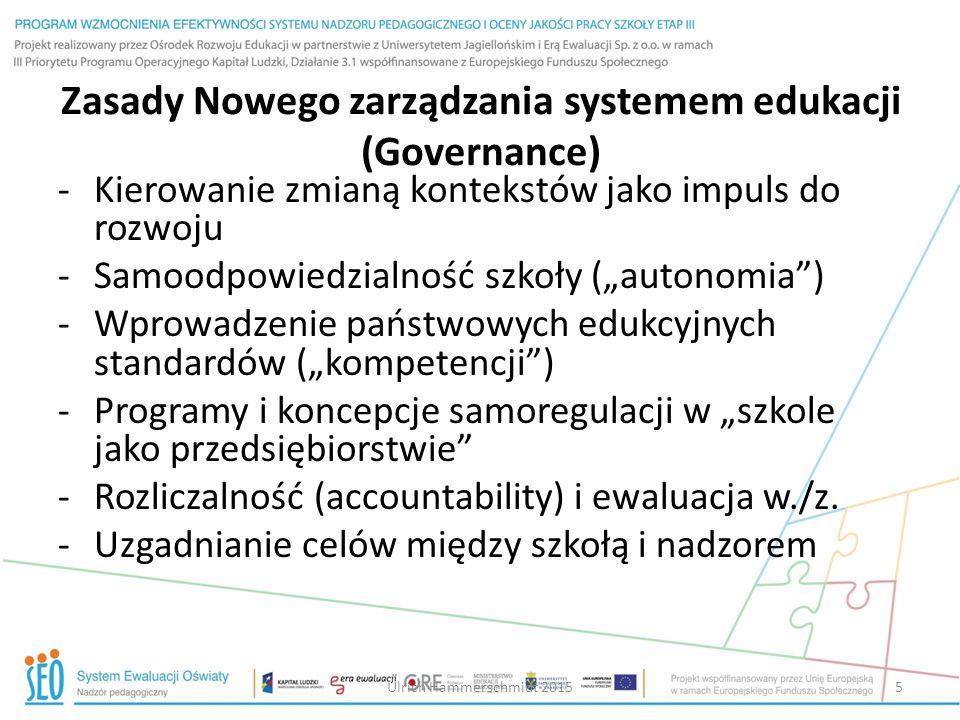 """Zasady Nowego zarządzania systemem edukacji (Governance) -Kierowanie zmianą kontekstów jako impuls do rozwoju -Samoodpowiedzialność szkoły (""""autonomia ) -Wprowadzenie państwowych edukcyjnych standardów (""""kompetencji ) -Programy i koncepcje samoregulacji w """"szkole jako przedsiębiorstwie -Rozliczalność (accountability) i ewaluacja w./z."""