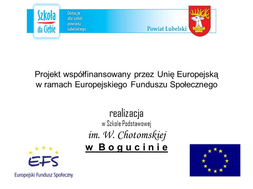 Projekt współfinansowany przez Unię Europejską w ramach Europejskiego Funduszu Społecznego realizacja w Szkole Podstawowej im.