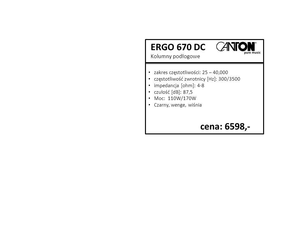 ERGO 670 DC Kolumny podłogowe zakres częstotliwości: 25 – 40,000 częstotliwość zwrotnicy [Hz]: 300/3500 impedancja [ohm]: 4-8 czułość [dB]: 87,5 Moc: 110W/170W Czarny, wenge, wiśnia cena: 6598,-