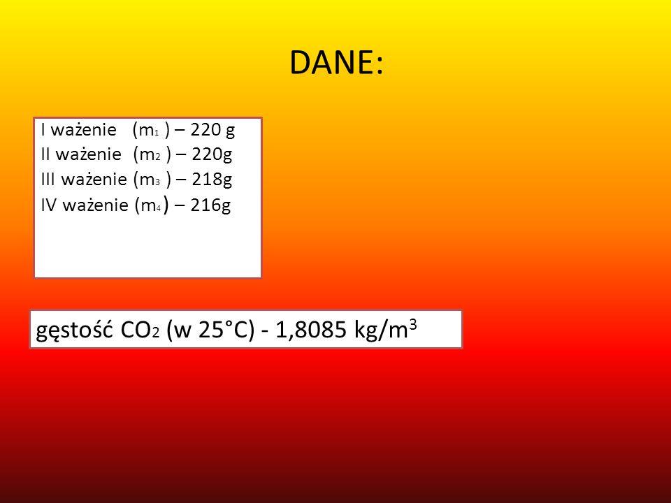 DANE: I ważenie (m 1 ) – 220 g II ważenie (m 2 ) – 220g III ważenie (m 3 ) – 218g IV ważenie (m 4 ) – 216g gęstość CO 2 (w 25°C) - 1,8085 kg/m 3