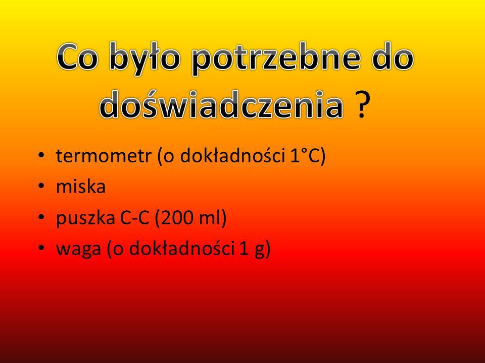 termometr (o dokładności 1°C) miska puszka C-C (200 ml) waga (o dokładności 1 g)