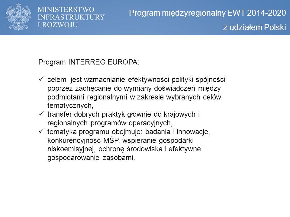 Program międzyregionalny EWT 2014-2020 z udziałem Polski Program INTERREG EUROPA: celem jest wzmacnianie efektywności polityki spójności poprzez zachę