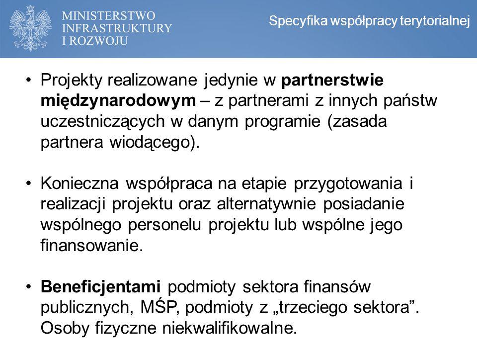 Projekty realizowane jedynie w partnerstwie międzynarodowym – z partnerami z innych państw uczestniczących w danym programie (zasada partnera wiodąceg