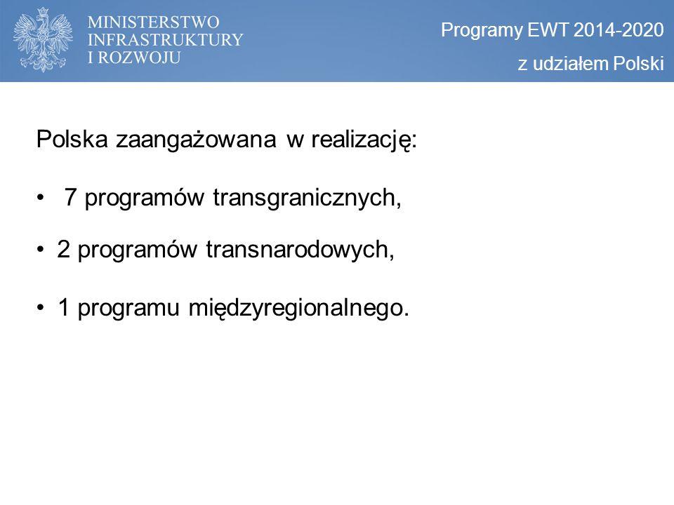 Polska zaangażowana w realizację: 7 programów transgranicznych, 2 programów transnarodowych, 1 programu międzyregionalnego. Programy EWT 2014-2020 z u