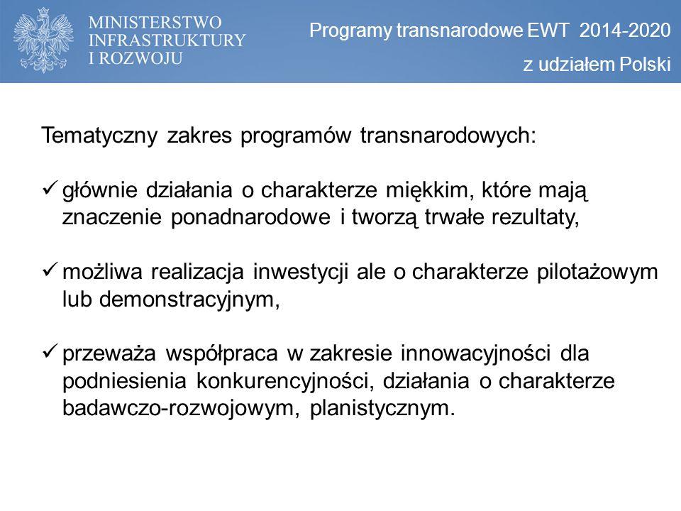 Programy transnarodowe EWT 2014-2020 z udziałem Polski Tematyczny zakres programów transnarodowych: głównie działania o charakterze miękkim, które maj