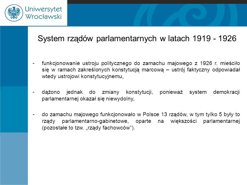 System rządów parlamentarnych w latach 1919 - 1926 -funkcjonowanie ustroju politycznego do zamachu majowego z 1926 r.