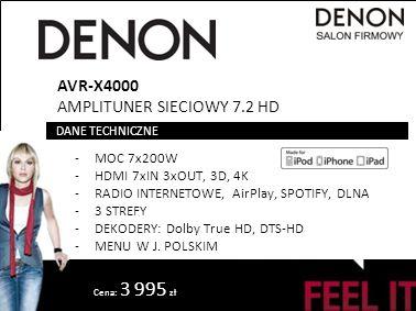 Cena: 3 995 zł AVR-X4000 AMPLITUNER SIECIOWY 7.2 HD -MOC 7x200W -HDMI 7xIN 3xOUT, 3D, 4K -RADIO INTERNETOWE, AirPlay, SPOTIFY, DLNA -3 STREFY -DEKODER