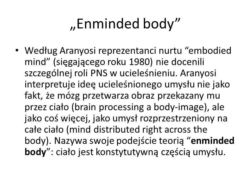 """""""Enminded body"""" Według Aranyosi reprezentanci nurtu """"embodied mind"""" (sięgającego roku 1980) nie docenili szczególnej roli PNS w ucieleśnieniu. Aranyos"""