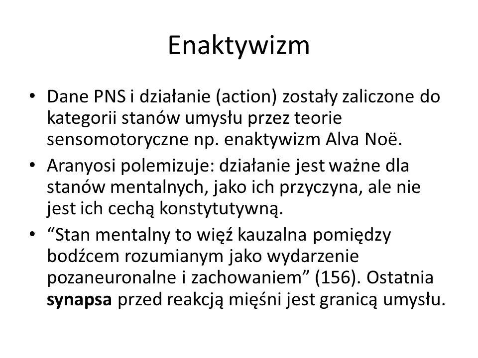 Enaktywizm Dane PNS i działanie (action) zostały zaliczone do kategorii stanów umysłu przez teorie sensomotoryczne np. enaktywizm Alva Noë. Aranyosi p
