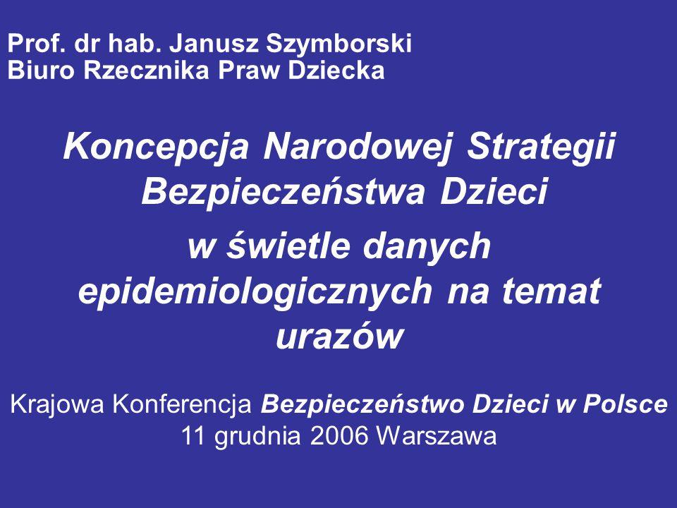 Prof. dr hab. Janusz Szymborski Biuro Rzecznika Praw Dziecka Koncepcja Narodowej Strategii Bezpieczeństwa Dzieci w świetle danych epidemiologicznych n