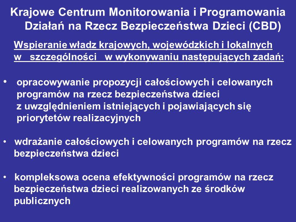 Krajowe Centrum Monitorowania i Programowania Działań na Rzecz Bezpieczeństwa Dzieci (CBD) Wspieranie władz krajowych, wojewódzkich i lokalnych w szcz