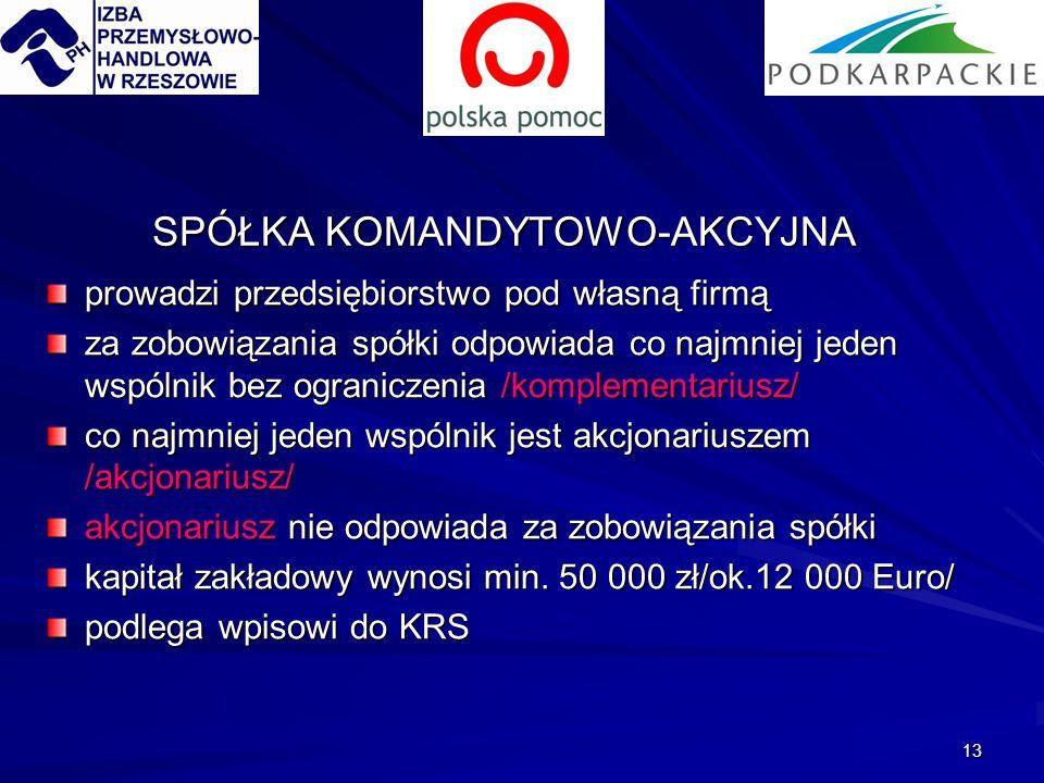 13 SPÓŁKA KOMANDYTOWO-AKCYJNA prowadzi przedsiębiorstwo pod własną firmą za zobowiązania spółki odpowiada co najmniej jeden wspólnik bez ograniczenia