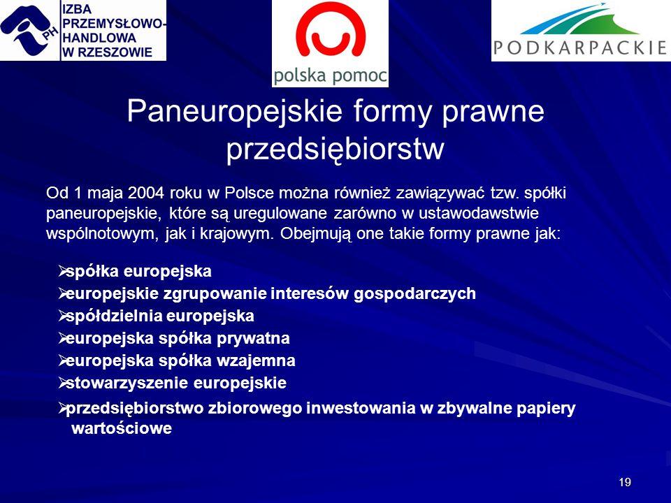19 Od 1 maja 2004 roku w Polsce można również zawiązywać tzw. spółki paneuropejskie, które są uregulowane zarówno w ustawodawstwie wspólnotowym, jak i