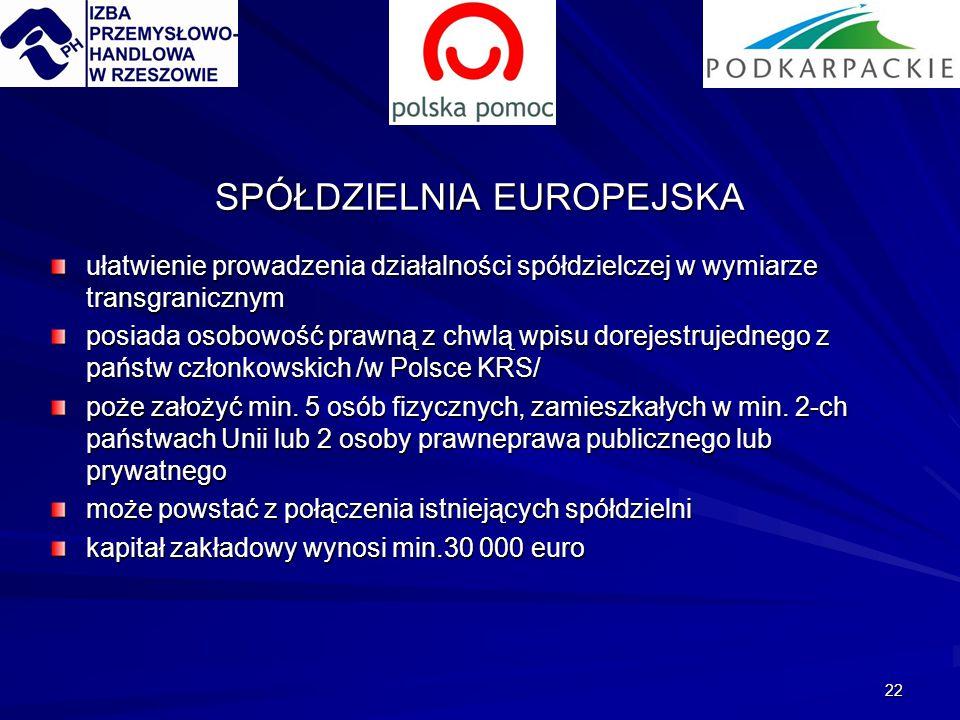 22 SPÓŁDZIELNIA EUROPEJSKA ułatwienie prowadzenia działalności spółdzielczej w wymiarze transgranicznym posiada osobowość prawną z chwlą wpisu dorejestrujednego z państw członkowskich /w Polsce KRS/ poże założyć min.