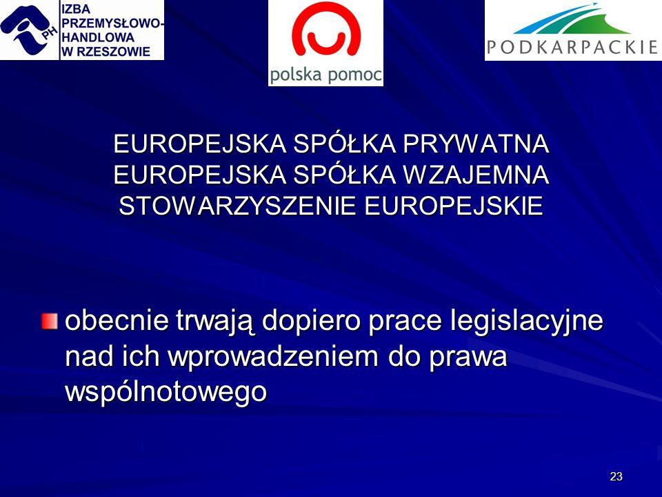 23 EUROPEJSKA SPÓŁKA PRYWATNA EUROPEJSKA SPÓŁKA WZAJEMNA STOWARZYSZENIE EUROPEJSKIE obecnie trwają dopiero prace legislacyjne nad ich wprowadzeniem do prawa wspólnotowego