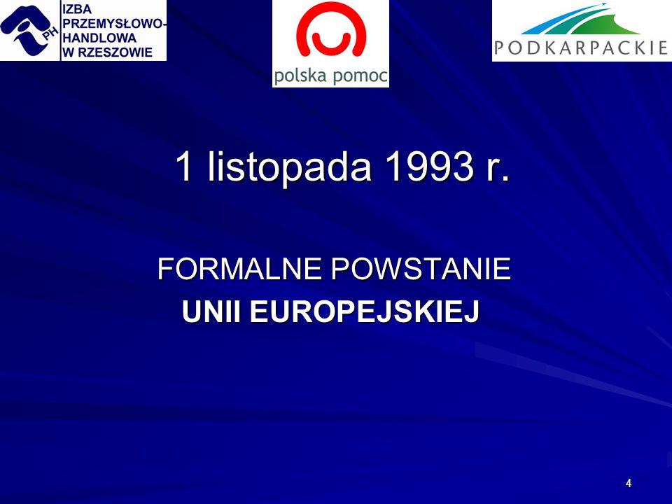 4 1 listopada 1993 r. FORMALNE POWSTANIE FORMALNE POWSTANIE UNII EUROPEJSKIEJ UNII EUROPEJSKIEJ
