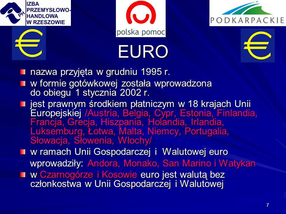 7 EURO nazwa przyjęta w grudniu 1995 r. w formie gotówkowej została wprowadzona do obiegu 1 stycznia 2002 r. jest prawnym środkiem płatniczym w 18 kra