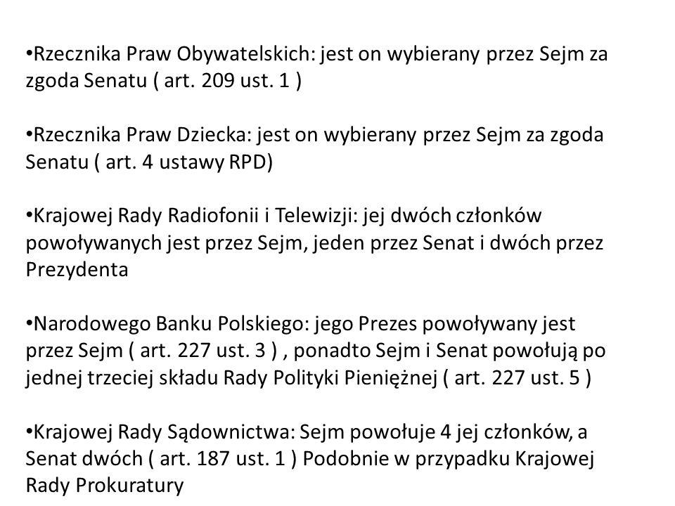 Rzecznika Praw Obywatelskich: jest on wybierany przez Sejm za zgoda Senatu ( art. 209 ust. 1 ) Rzecznika Praw Dziecka: jest on wybierany przez Sejm za