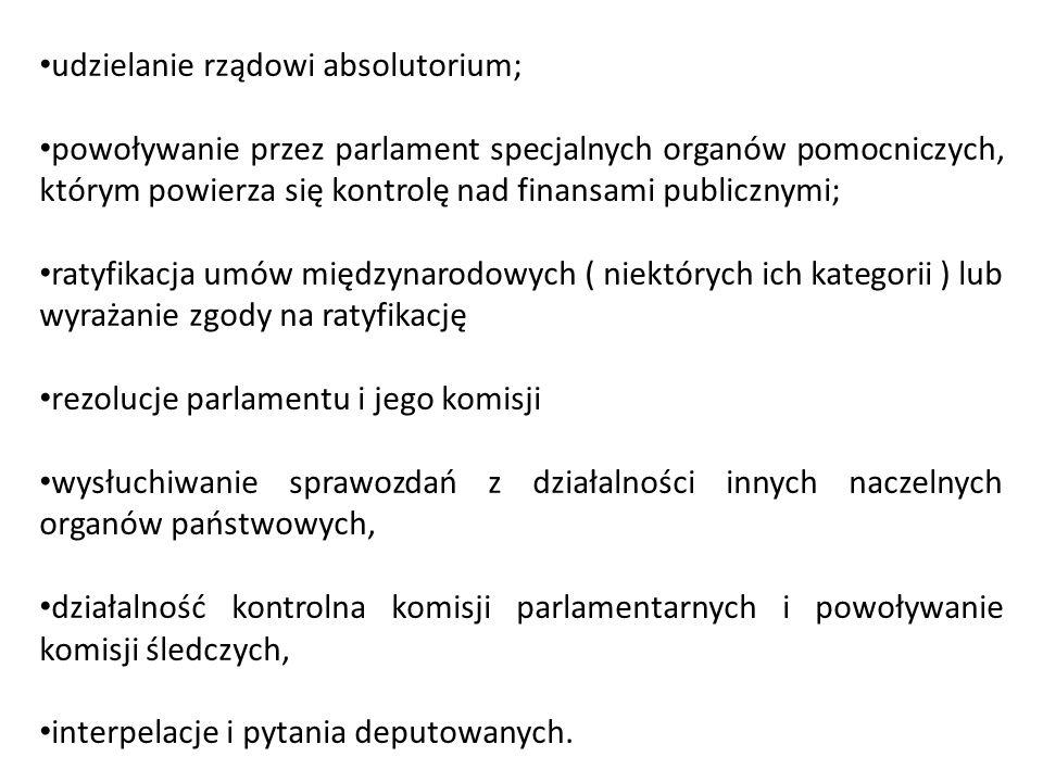 udzielanie rządowi absolutorium; powoływanie przez parlament specjalnych organów pomocniczych, którym powierza się kontrolę nad finansami publicznymi;
