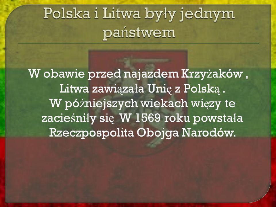 W obawie przed najazdem Krzy ż aków, Litwa zawi ą za ł a Uni ę z Polsk ą. W pó ź niejszych wiekach wi ę zy te zacie ś ni ł y si ę W 1569 roku powsta ł