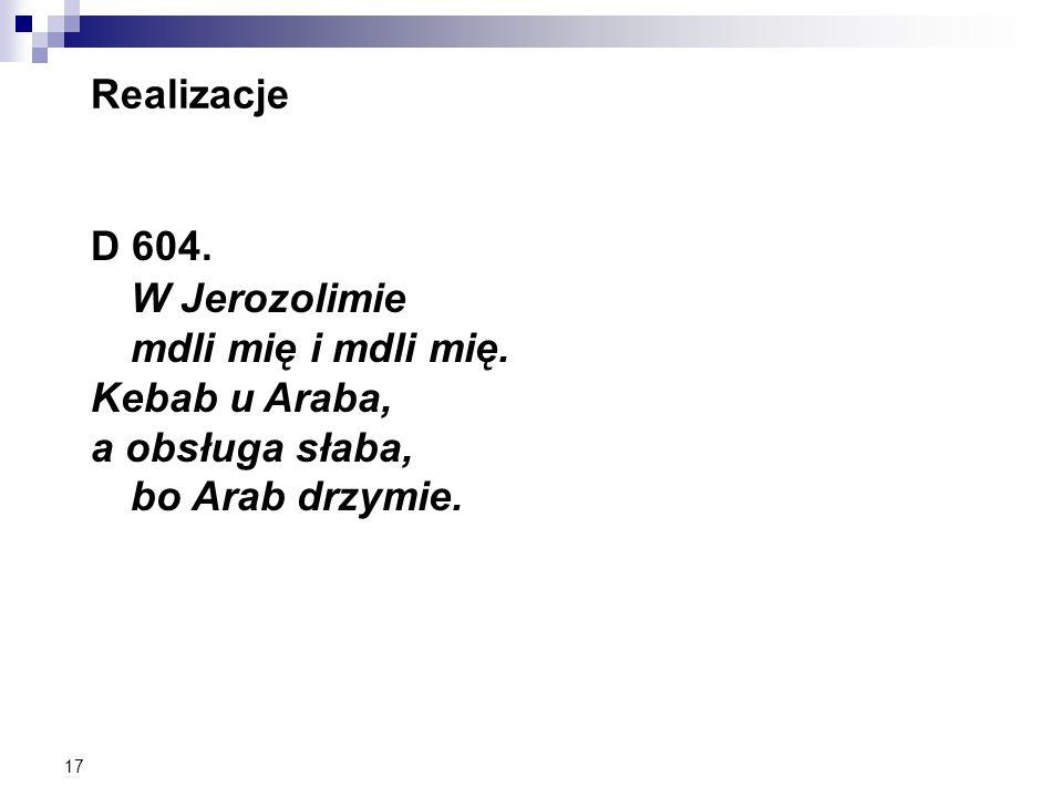 17 Realizacje D 604. W Jerozolimie mdli mię i mdli mię.