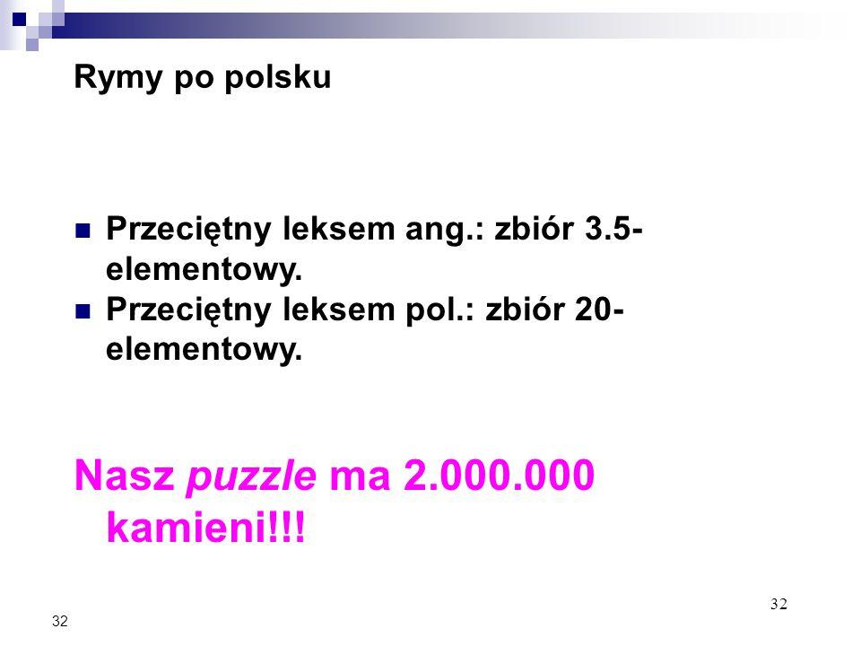 32 Rymy po polsku Przeciętny leksem ang.: zbiór 3.5- elementowy.