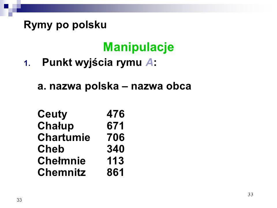33 Rymy po polsku Manipulacje 1. Punkt wyjścia rymu A: a.
