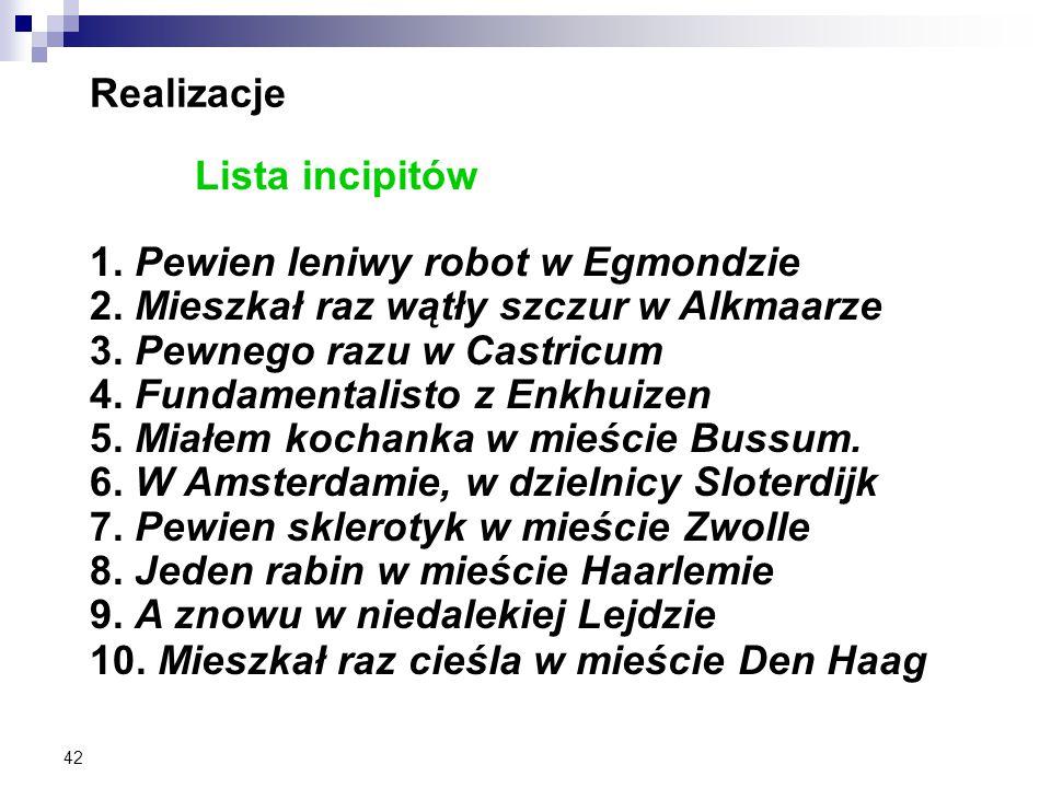 42 Realizacje Lista incipitów 1. Pewien leniwy robot w Egmondzie 2.