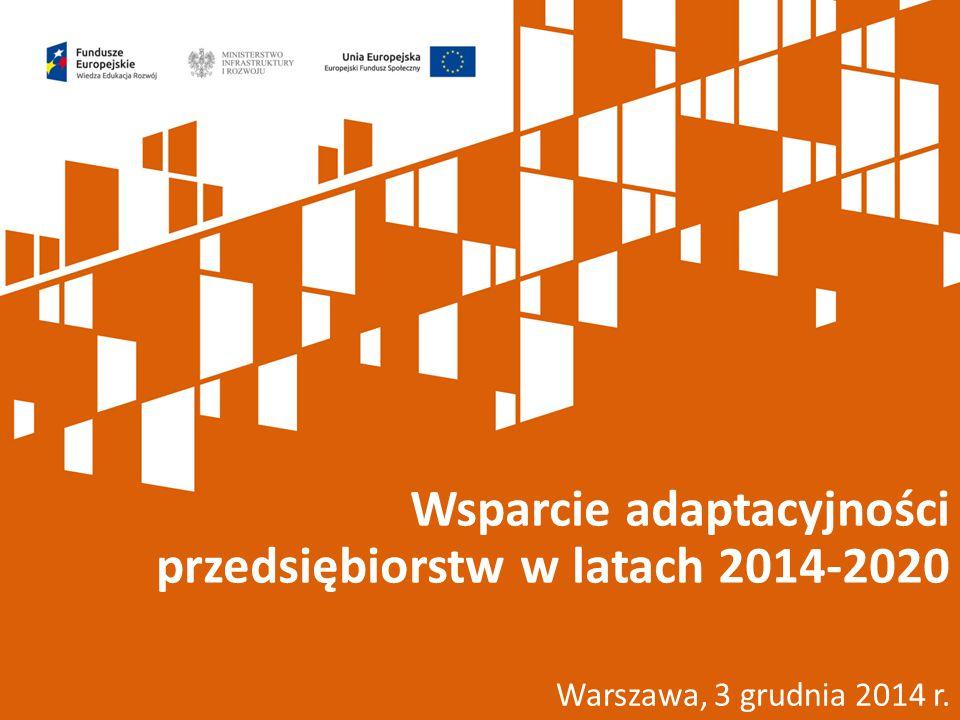 Warszawa, 3 grudnia 2014 r. Wsparcie adaptacyjności przedsiębiorstw w latach 2014-2020