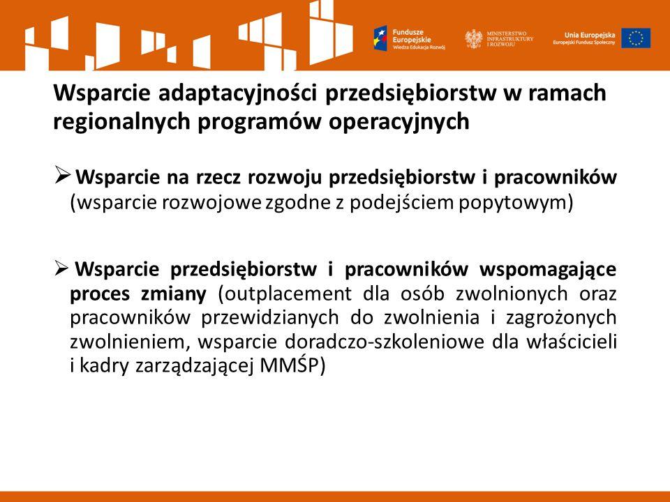 Wsparcie adaptacyjności przedsiębiorstw w ramach regionalnych programów operacyjnych  Wsparcie na rzecz rozwoju przedsiębiorstw i pracowników (wsparcie rozwojowe zgodne z podejściem popytowym)  Wsparcie przedsiębiorstw i pracowników wspomagające proces zmiany (outplacement dla osób zwolnionych oraz pracowników przewidzianych do zwolnienia i zagrożonych zwolnieniem, wsparcie doradczo-szkoleniowe dla właścicieli i kadry zarządzającej MMŚP)