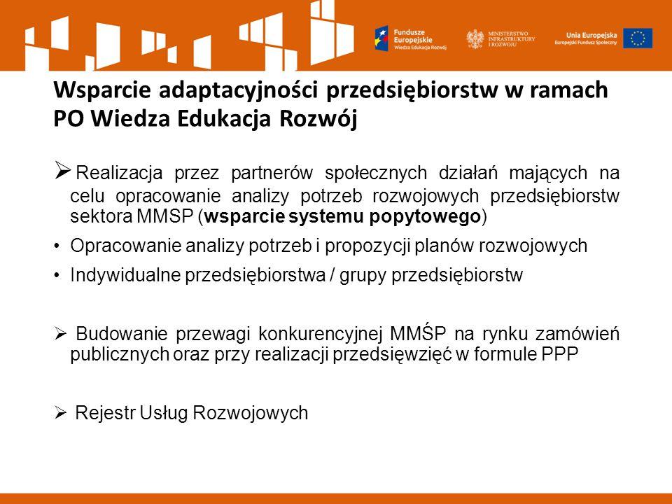 Wsparcie adaptacyjności przedsiębiorstw w ramach PO Wiedza Edukacja Rozwój  Realizacja przez partnerów społecznych działań mających na celu opracowanie analizy potrzeb rozwojowych przedsiębiorstw sektora MMSP (wsparcie systemu popytowego) Opracowanie analizy potrzeb i propozycji planów rozwojowych Indywidualne przedsiębiorstwa / grupy przedsiębiorstw  Budowanie przewagi konkurencyjnej MMŚP na rynku zamówień publicznych oraz przy realizacji przedsięwzięć w formule PPP  Rejestr Usług Rozwojowych