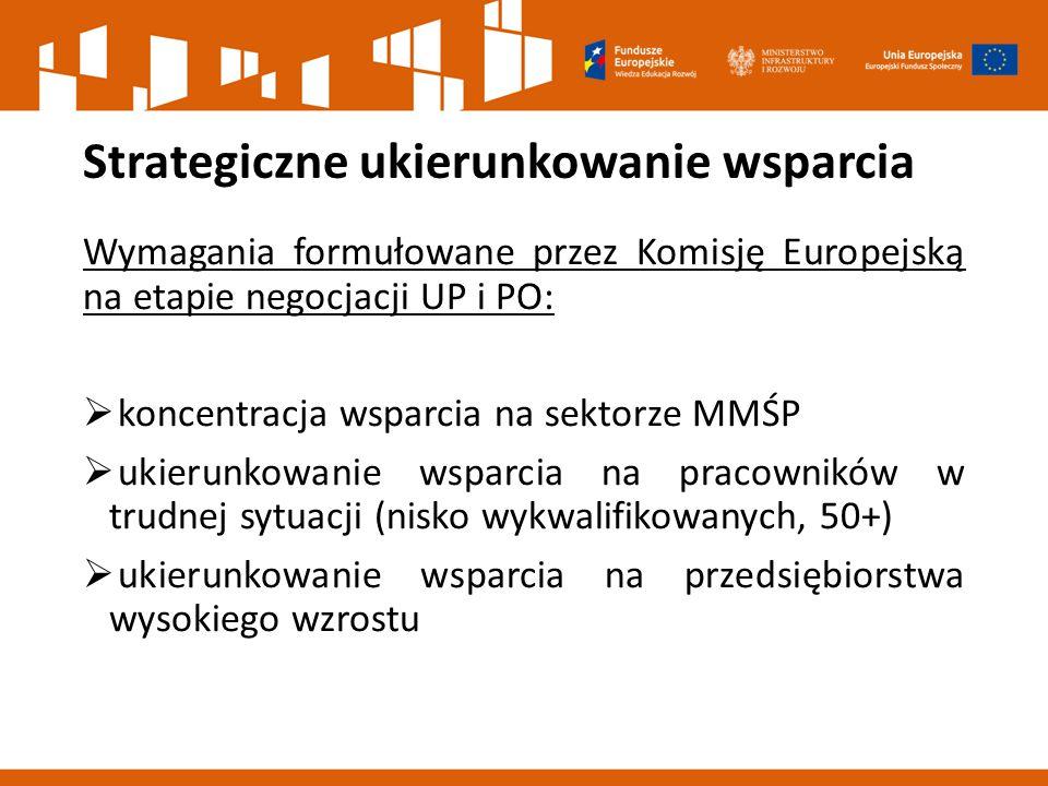 Strategiczne ukierunkowanie wsparcia Wymagania formułowane przez Komisję Europejską na etapie negocjacji UP i PO:  koncentracja wsparcia na sektorze MMŚP  ukierunkowanie wsparcia na pracowników w trudnej sytuacji (nisko wykwalifikowanych, 50+)  ukierunkowanie wsparcia na przedsiębiorstwa wysokiego wzrostu