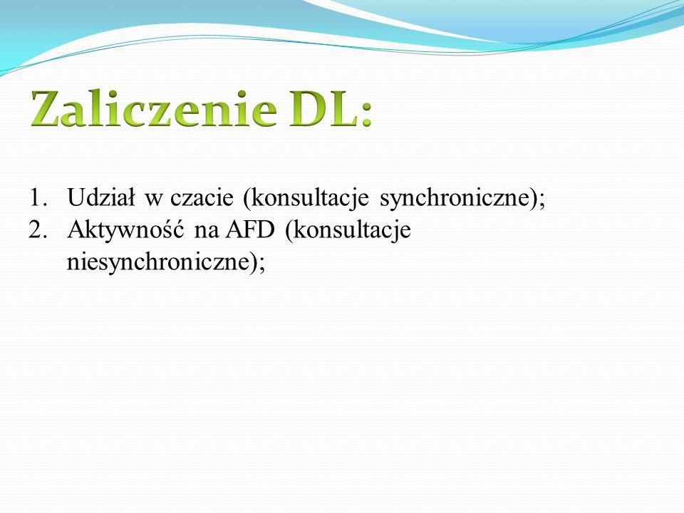 1.Udział w czacie (konsultacje synchroniczne); 2.Aktywność na AFD (konsultacje niesynchroniczne);